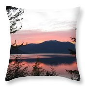 May Sunset On Kootenay Lake Throw Pillow