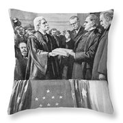Mckinley Taking Oath, 1897 Throw Pillow