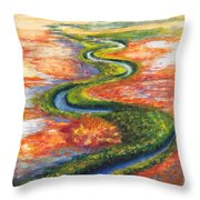 Meandering River In Northern Australian Channel Country Throw Pillow