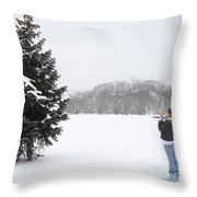 Measuring The Height Of A Tree Throw Pillow