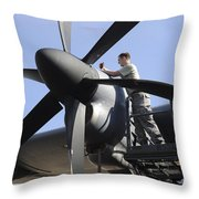 Mechanic Finishes Moving An Engine Throw Pillow