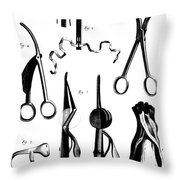 Medical Instruments, 18th Century Throw Pillow