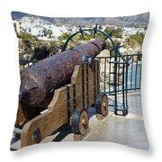 Medieval Cannon At The Balcon De Europa Throw Pillow