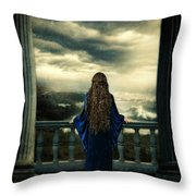Medieval Lady Watching The Sea Throw Pillow