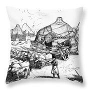 Medieval Tartar Huts Throw Pillow
