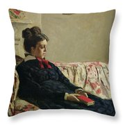 Meditation Throw Pillow by Claude Monet