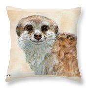 Meerkat 762 Throw Pillow