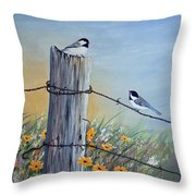 Meeting At The Old Fence Post Throw Pillow