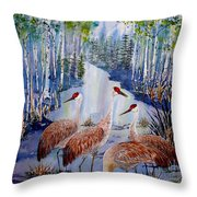 Meeting At The Slough Throw Pillow