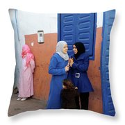 Meeting In Blue Throw Pillow