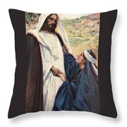 Meeting Of Jesus And Martha Throw Pillow