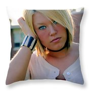 Melancholy Blond Throw Pillow by Susan Stevenson