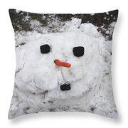 Melting Snowman Throw Pillow