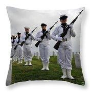 Members Of A Ceremonial Honor Guard Throw Pillow