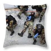 Members Of The Greek Navy Practice Throw Pillow