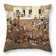 Men And Boys Bathe At An Ancient Ghat Throw Pillow