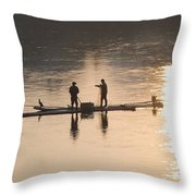Men On A Raft Fishing Throw Pillow