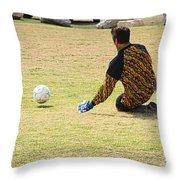Men Soccer Action 1 Throw Pillow