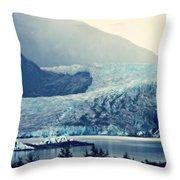 Mendenhall Glacier On A Foggy Morning Throw Pillow