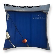 menorca st - A warehouse door in Es Castell Menorca ready to keep local tradicional boats llauts Throw Pillow