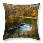 Meramec River Bend At Castlewood State Park Throw Pillow