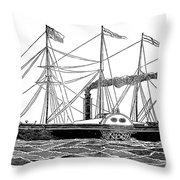 Merchant Steamship, 1838 Throw Pillow