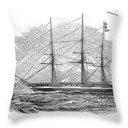 Merchant Steamship, 1844 Throw Pillow