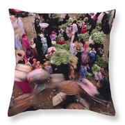 Merchants At Saqqaras Market Carry Throw Pillow