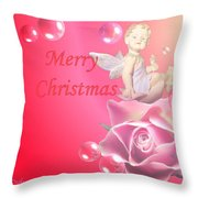 Merry Christmas Cherub And Rose Throw Pillow