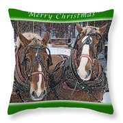 Merry Christmas Horses At Sawmill Throw Pillow