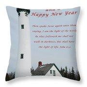 Merry Christmas Lighthouse Throw Pillow