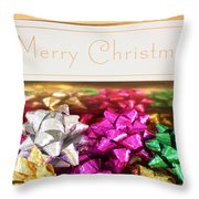 Merry Christmas Message With Colourful Bows Throw Pillow