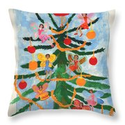 Merry Christmas Tree Fairies In Progress Throw Pillow