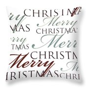 Merry Christmas Words Throw Pillow