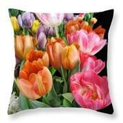 Merry Dresden Style Tulips Throw Pillow