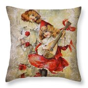 Merry Making Antique Girls In Red And White Grunge Throw Pillow