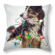 Merry Merry Bark Bark Throw Pillow