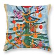 Merry Xmas Tree Fairies Throw Pillow