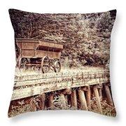 Metal Wagon On The Trestle Throw Pillow