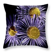 Metallic Daisies Throw Pillow