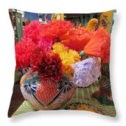 Mexican Paper Flowers And Talavera Pottery Throw Pillow