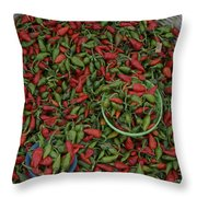 Mexican Peppers At An Open Air Market Throw Pillow