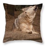 Mexican Wolf Howling Throw Pillow