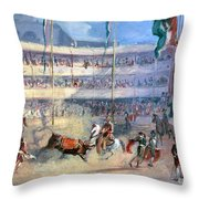 Mexico: Bullfight, 1833 Throw Pillow