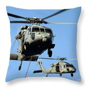 Mh-60s Sea Hawk Helicopters In Flight Throw Pillow