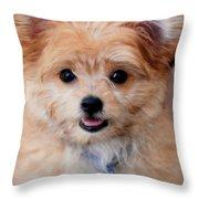 Mi-ki Puppy Throw Pillow by Angie Tirado