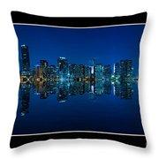 Miami Skyline Night Panorama Throw Pillow