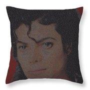 Michael Jackson Songs Mosaic Throw Pillow by Paul Van Scott