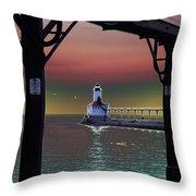 Michigan City Lighthouse 2 Throw Pillow