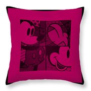 Mickey In Hot Pink Throw Pillow